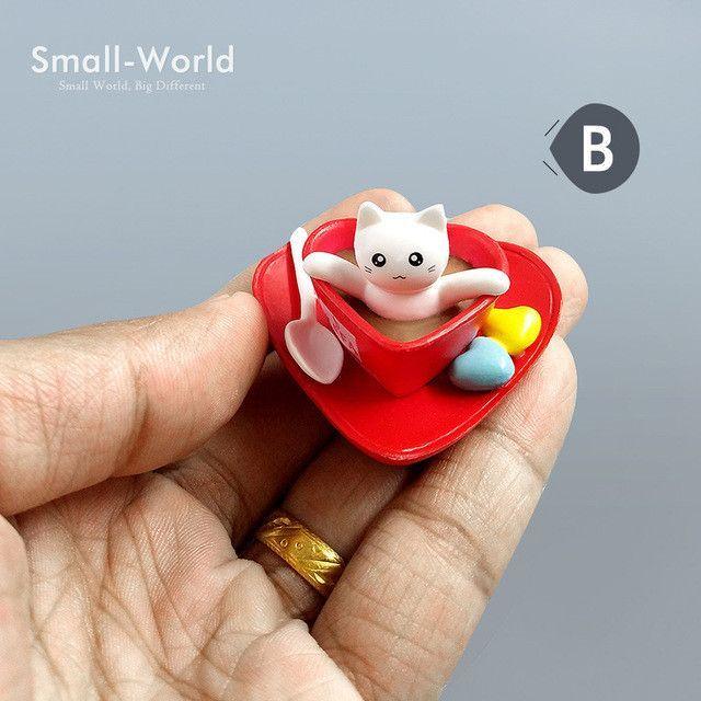 Kawaii Dessert Cat toy Miniature Figurine Bonsai ornament home decoration fairy garden cartoon statue Diy resin craft figures