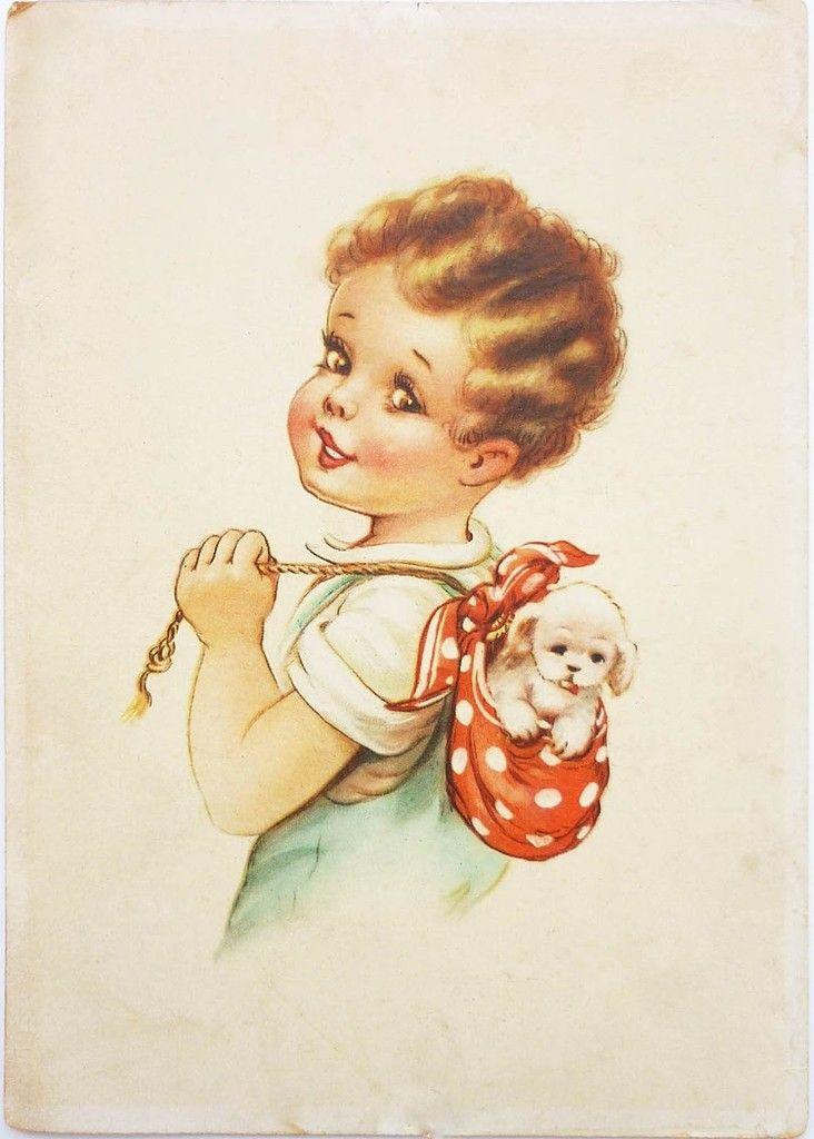 Бизнесмена, дети на открытках 50 годов