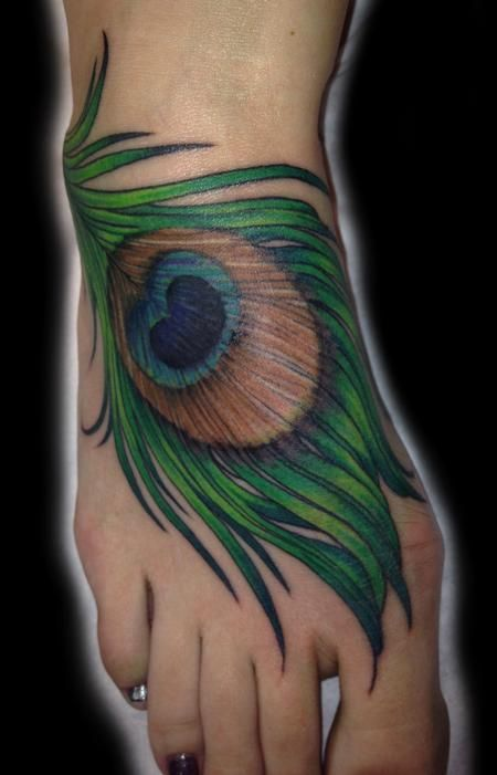 Peacock Feather Tattoo On Foot | TattooNOW : Tattoos : Body Part Foot : peacock feather