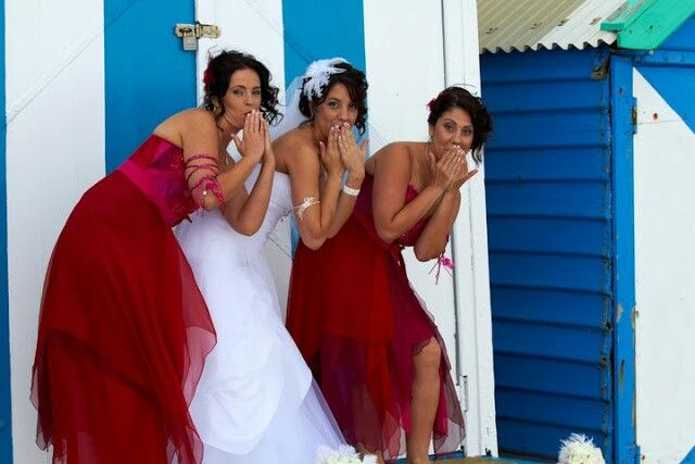Cheeky bride and maids at the beach!