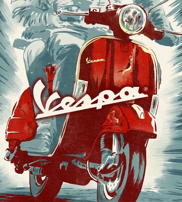 Motorcycle Illustrations by Ryan Quickfall Vespa