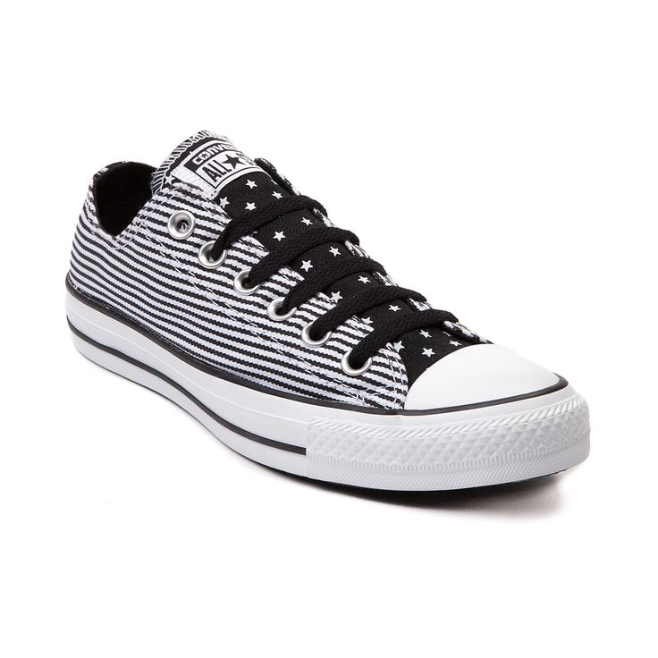 Womens Converse All Star Lo Stars Sneaker, White Black, at Journeys Shoes