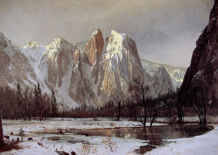Cathedral Rock, Yosemite Valley, California, 1872 by Albert Bierstadt. Luminism. landscape