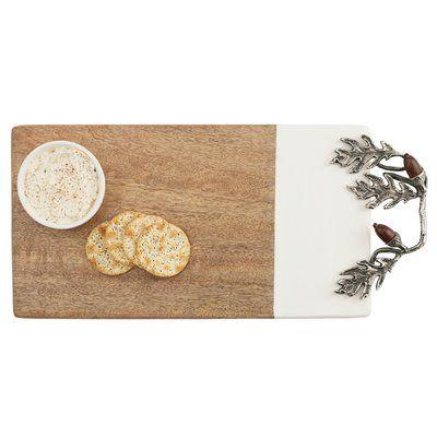 Mud Pie™ Acorn Wood and Enamel Serving 2 Piece Cheese Board Set with Ramekin
