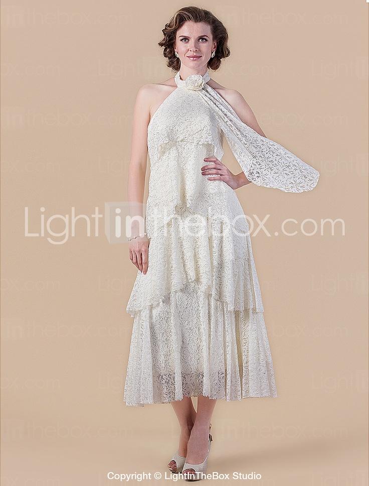 guaina / colonna collo alto tè di lunghezza madre pizzo del vestito sposa - EUR € 123.74
