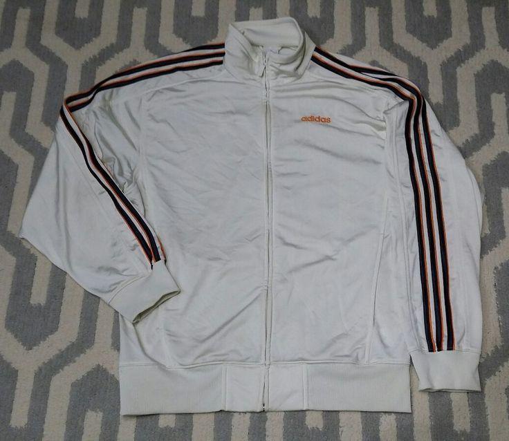Mens Adidas Jacket MEDIUM Cream Ivory Classic Orange 3 Stripes Full Zip Track  #adidas #CoatsJackets