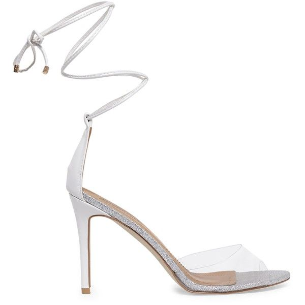 Maylie White Glitter Sole Lace Up Sandals (12.210 HUF) ❤ liked on Polyvore featuring shoes, sandals, white, monk-strap shoes, strappy lace up sandals, clear shoes, white sparkly sandals and sparkly sandals