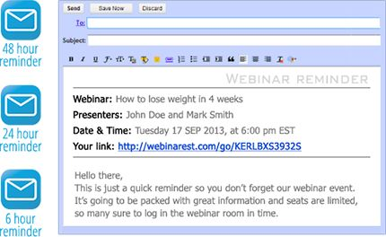 With Webinar Jam you send email reminders of your webinars!