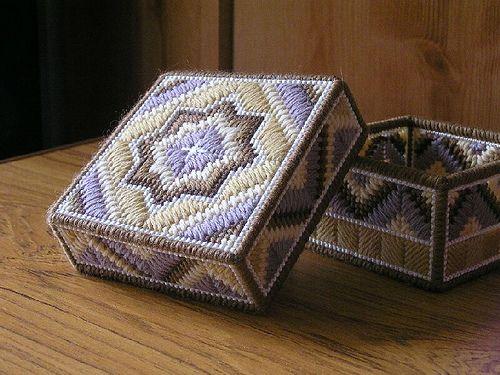 Shrewsbury (Plastic Canvas) Box by sue tortoise, via Flickr