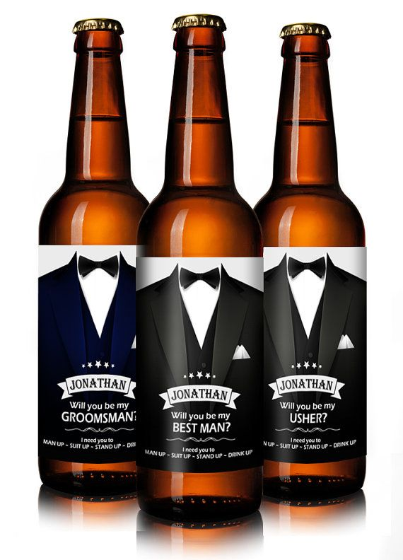 Groomsmen Gifts - Will You Be My Groomsman Beer Labels Personalised - Price is for Set of 4 for Male Roles: Best Man, Groomsman and Usher