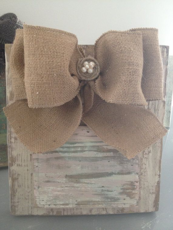 Handmade wooden 4x6 picture frame with burlap bow . Ivory and pale pink