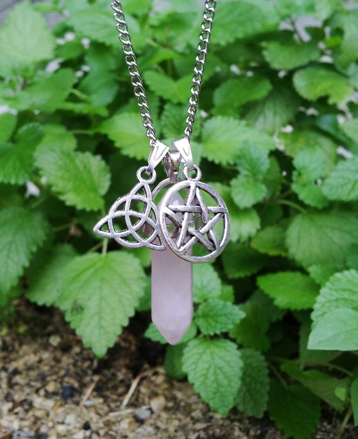 Pentacle and Triquetra Rose Quartz Necklace + Free Shipping Worldwide, Rose Quartz Jewelry, Spiritual Celtic Pentacle Pagan Triquetra by OurArtyCreations on Etsy