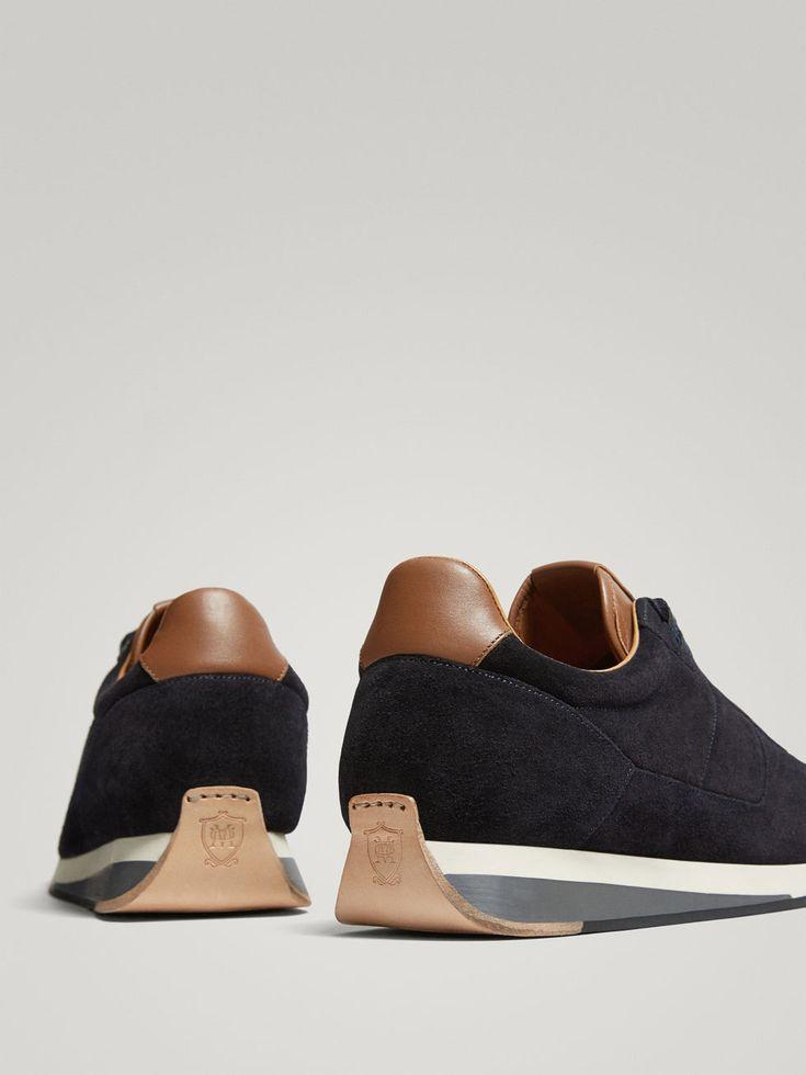 DEPORTIVO PIEL SERRAJE AZUL de HOMBRE - Zapatos - Ver todo de Massimo Dutti de Otoño Invierno 2017 por 69.95. ¡Elegancia natural!