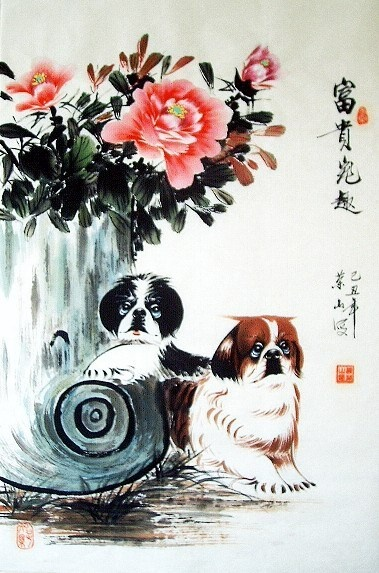 Chinese dog painting by Tan Rongshan.