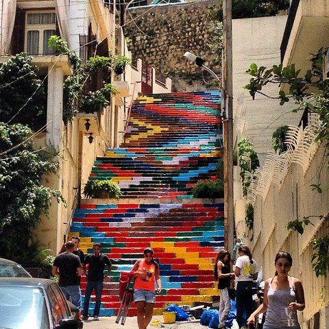 painted stairs, beirut,