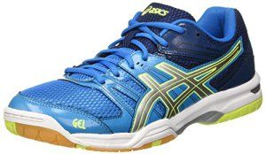 Asics Gel-Rocket 7, Chaussures de Volleyball Homme, Multicolore (Blue Jewel/Glacier Grey/Safety Yellow), 42.5 EU
