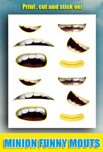 Minion Mouth Stickers - Minions Iron Transfer - Birthday Party Sticker - Sticker for Balloons - Minions Sticker - Minion Mouths - Party