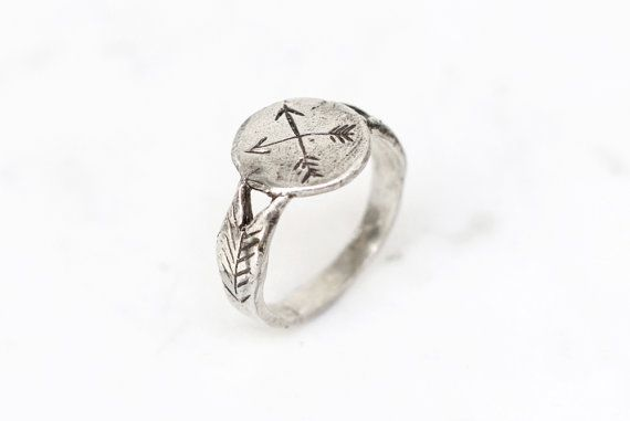 Silver crossed arrows signet ring by datter on Etsy