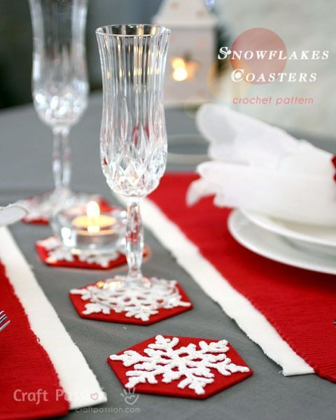 This frosty crochet design will be a merry addition to your table decor as Christmas coasters your guests will adore.   See more at Craft Passion.