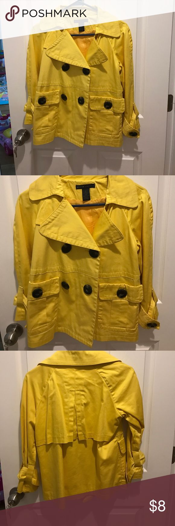 Yellow peacoat Yellow women's peacoat with large buttons Grace Jackets & Coats Pea Coats