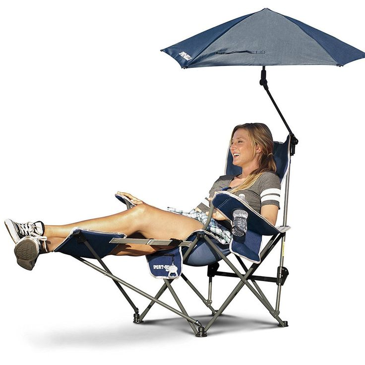 Sport-Brella Camping Chair W/ Footrest Umbrella Pool Recliner Folding Blue #SportBrella