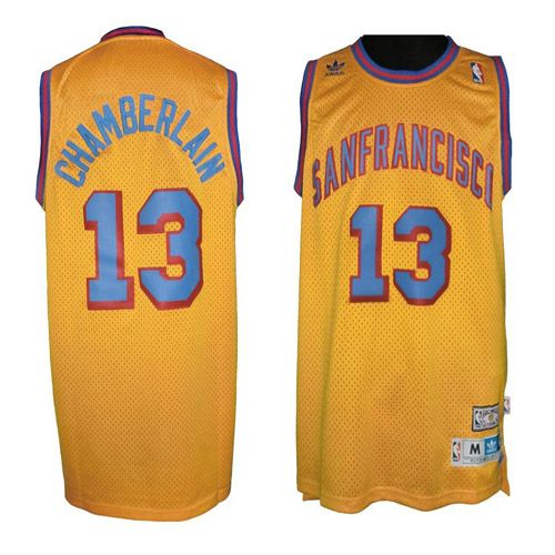 bcd28aad456 ... Warriors 13 Wilt Chamberlain Gold Throwback San Francisco Stitched NBA  Jersey ...
