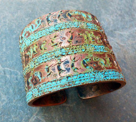 Happy dance polymer clay bracelet cuff by adrianaallenllc on Etsy