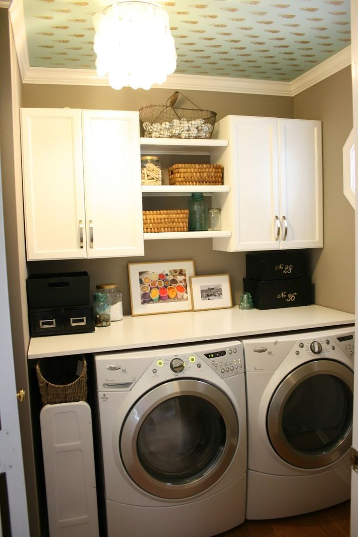 Small Laundry Room Ideas : Small Laundry Room I like the counter & pull out shelf but will need a space to hang stuff up.