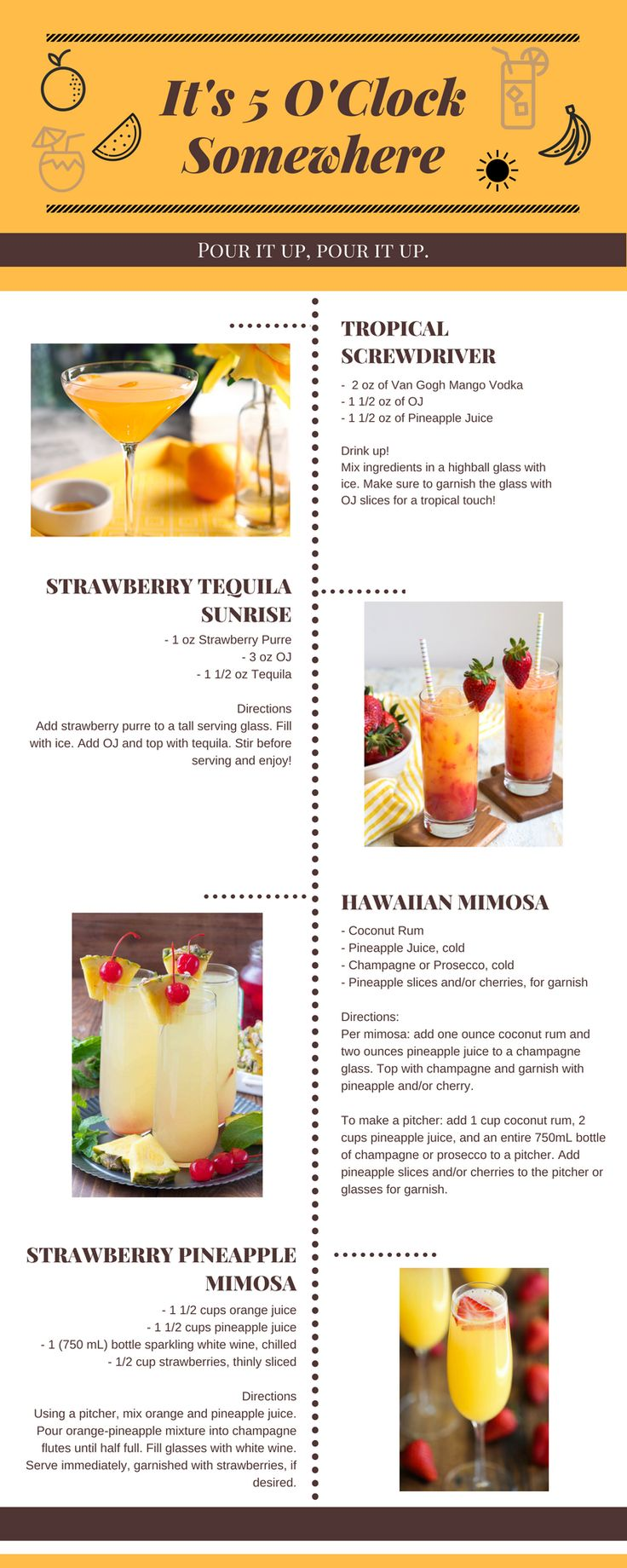 An infographic of tasty, tropical inspired drinks for any time of day! I've pinned all original recipes and sources to this board as well.    Recipe Credit: https://www.thelittleepicurean.com/2017/05/strawberry-tequila-sunrise.html  http://damndelicious.net/2015/04/04/strawberry-pineapple-mimosas/  https://www.crazyforcrust.com/hawaiian-mimosas/