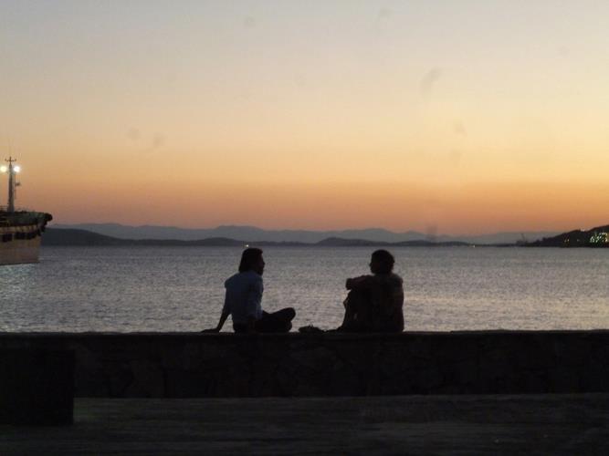 the view of Salamina island from Elefsina
