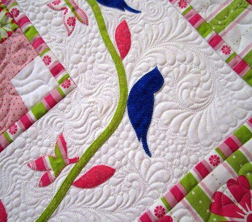 Ivory springQuilt Inspiration, Quilt Design, Longarm Quilt, Motion Quilt, Ivory Spring, Beds Runners, Machine Quilt, Quilt Pattern, Quilt Longarm