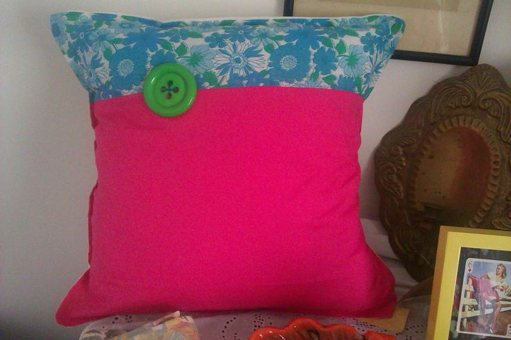 Upcyled '70's fabric fabulous cushion with large green button. £15