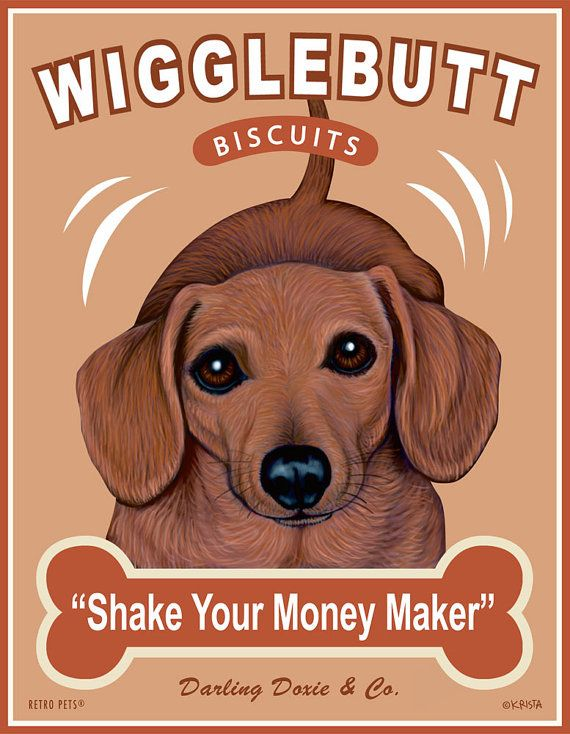 Dachshund Art  Wigglebutt Biscuits  Shake Your by RetroPetsGallery, $20.00