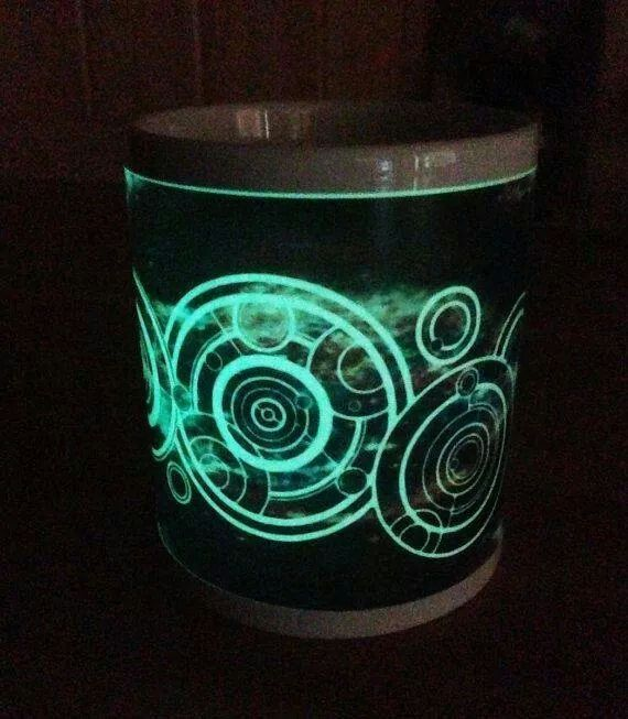 You name in Gallifreyan in a personalised glow in the dark mug. Via etsy. NEED THIS