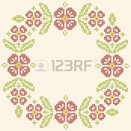 23081099-blom-ram-för-korsstygn-broderi-på-ukrainska-traditionell-etnisk-stil.-röd-och-grön,-vektor-illus.jpg 450×450 pixels