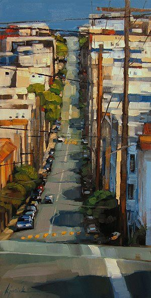 """""""C'est une maison bleue adossée à la colline, on y vient à pieds, on ne frappe pas tout le monde est là à 5heures du soir"""" Karin Jurick -- karin.blogspot.com A Painting Today: landscape"""