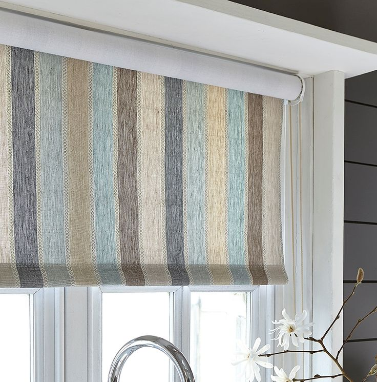 Roller Blind in Scandi Cool  - Great fabric for introducing various colours into the kitchen.
