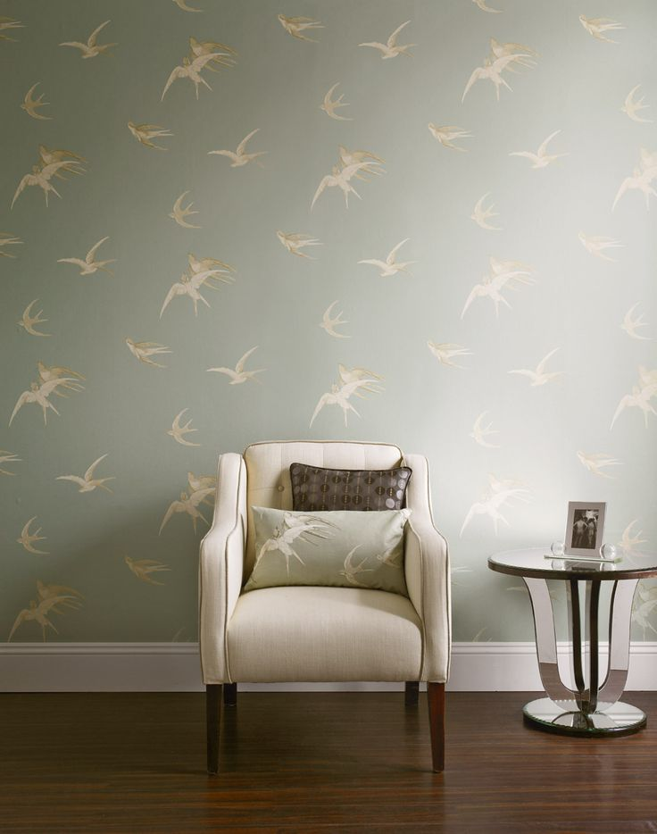 wallpaper swallows dvipsw202 by sanderson uk from 1930s. Black Bedroom Furniture Sets. Home Design Ideas