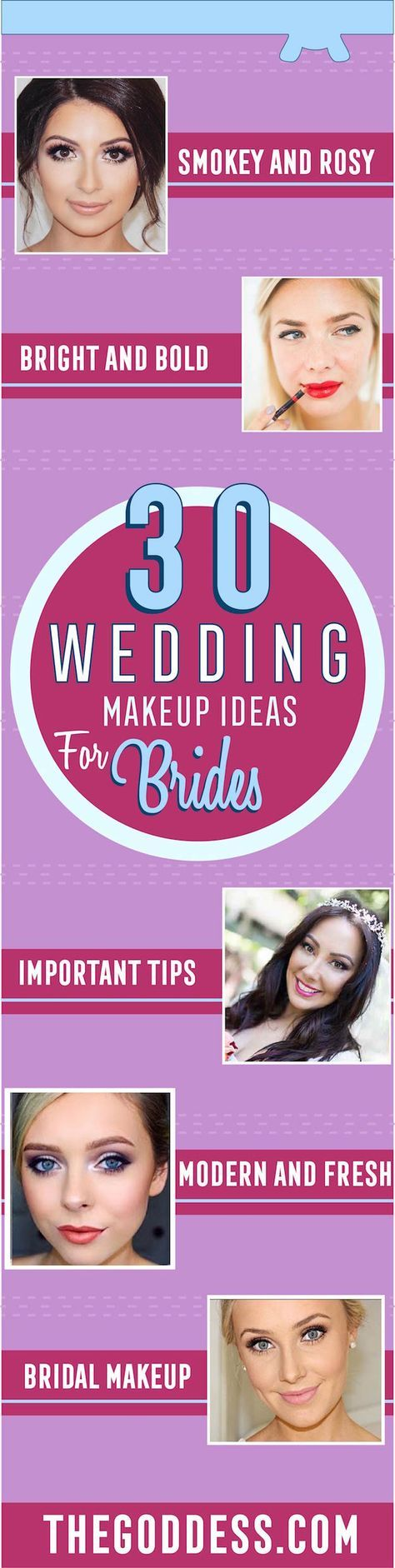 Wedding Makeup Ideas for Brides - Romantic make up ideas for the wedding - Natural and Airbrush techniques that look great with blue, green and brown eyes - rusti evening glow looks - http://thegoddess.com/wedding-makeup-for-brides
