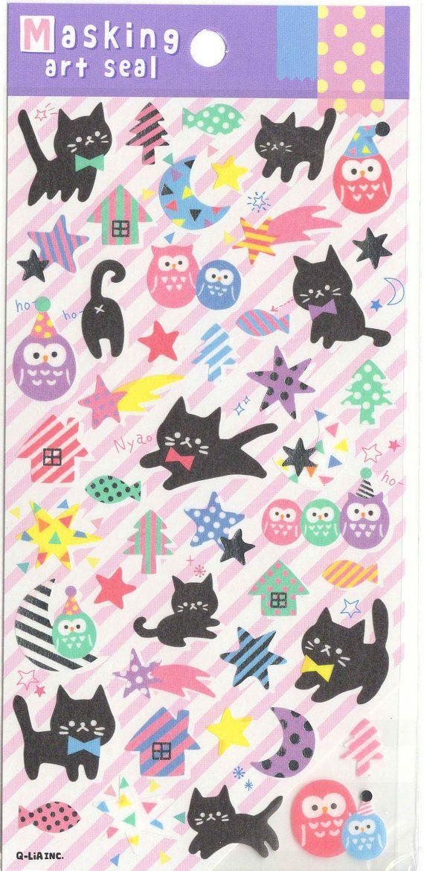 Kawaii Japan Masking Tape sticker Sheet Assort: Pastel Owl Family and Black Cat Shooting Stars Polka Dot Trees Nyan Cat