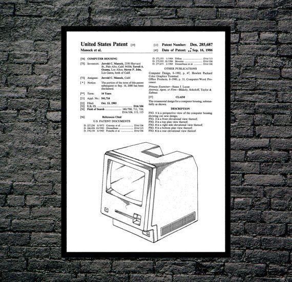 Apple Computer Patent, Apple Computer Poster, First Apple Computer Print, First Apple Computer Art, Apple Computer by STANLEYprintHOUSE  0.79 USD  This is a vintage patent print. The First Apple Computer from 1986.  This poster is printed using high quality archival inks, and will be of museum quality. Any of these posters will make a great affordable gift, or tie any room together.  Please choose between different sizes and co ..  https://www.etsy.com/ca/listing/479838558/apple-co..