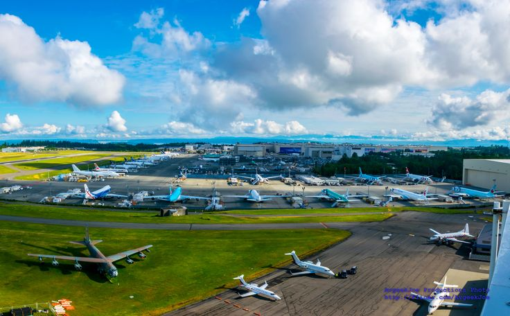 KPAE Control Tower View of the Boeing Test Ramp | Figured folks would like a 16:9 wallpaper panorama of the Boeing Test Ramp at Paine Field from the Paine Field (KPAE) Control Tower.  In the background is the Future of Flight campus (middle left) and the Boeing 747-767-777-787 Factory.  Like this unique photo of Paine Field?  Go check out more photos from the Institute of Flight tour of the Paine Field Control Tower: www.flickr.com/photos/avgeekjoe/al...