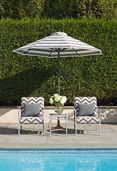 landscape wall: Chevron Patterns, Pools Furniture, Outdoor Living, Outdoor Fabrics, Patio Furniture, Patio Sets, Schumacher Fabrics, Gray Chevron, Chevron Outdoor