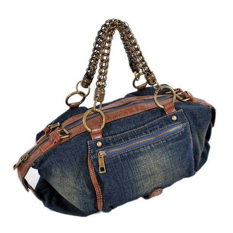 MIDOU Metal Handle Denim Tote Bag