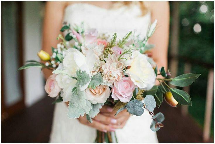 Cream, white, pink, apricot natural, rustic, boho bouquet by Elizabeth Rose Bridal