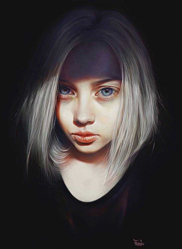 """Schultz"" - Elena Sai {figurative realism art female head dramatic woman face portrait cropped digital painting} elenasai.deviantart.com"
