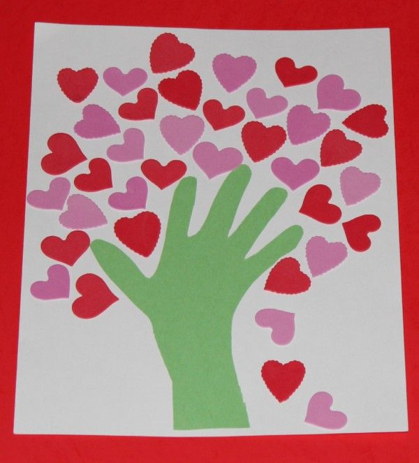 Hearts tree with handprint (trace or paint) for Valentine's Day.  Great, simple craft for all ages of kids.