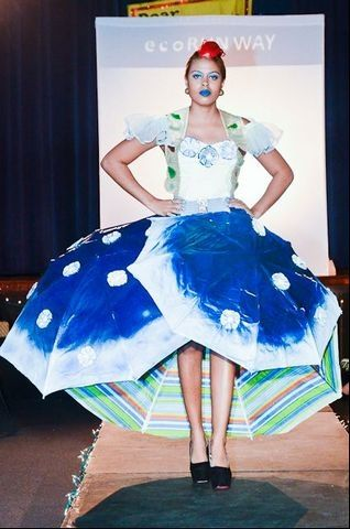 """""""Umbrellas, the inside of a computer, bottle caps and grocery bags from all local stores. These aren't traditional design materials when you think of haute couture, but they were some of the unconventional fabric choices for the Eco Runway competition...at The Bermuda High School"""" http://www.royalgazette.com/article/20121122/ISLAND07/711229985"""