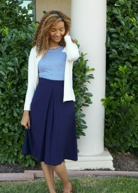 Box Pleat Skirt - Navy