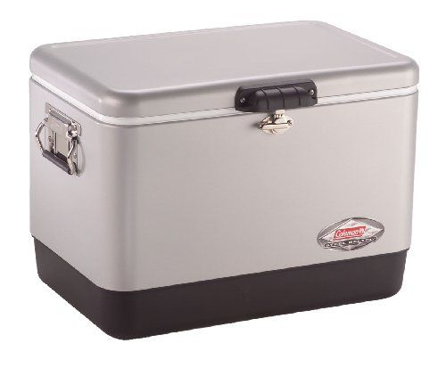 Coleman Company 54-Quart Steel Belted Cooler, Silver Coleman  Steel construction Stainless steel handles with rubber grip for comfortable carrying Stylish lid with solid steel latch designed to securely seal contents Rust proof, leak resistant channel drain for no tilt draining 85 can capacity